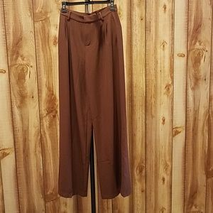 Modcloth Brown Pleated Wide Leg Trousers